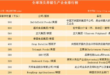 全球顶尖养猪生产企业排行榜(TOP40):温氏集团全球第二!(附榜单)