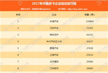 2017年中国皮卡企业销量排行榜(TOP10)