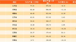 2017年全国各省市纱产量排行榜