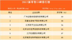 2017年新零售口碑排行榜:好评率最高达99%(附榜单)