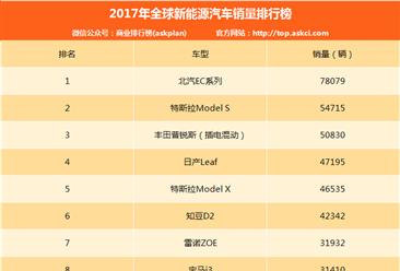 2017年全球新能源汽车销量排名:北汽EC第一 知豆/比亚迪齐上榜(附排名)