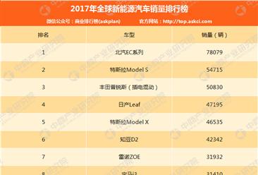 2017年全球新能源汽车销量排行榜(TOP10)