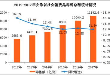 2017年安徽省社会消费品零售额增长11.9%   居民消费升级步伐加快(图表)