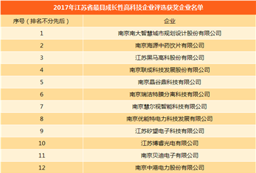 2017年江苏最具成长性高科技百强企业名单公布(附完整名单)