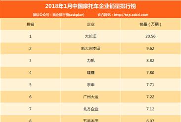 2018年1月中国摩托车企业销量排行榜