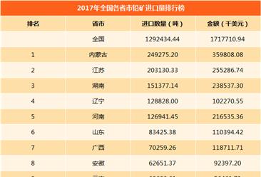 2017年全國各省市鉛礦進口量排行榜