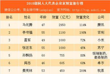 2018胡润人大代表企业家财富排行榜:腾讯马化腾第一 吉利李书福第二(附榜单)