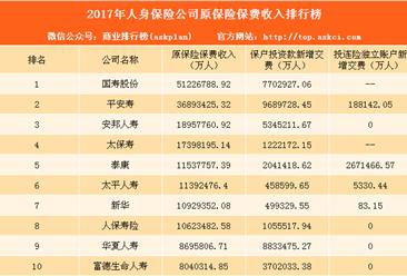 2017年人身保险公司保费收入排名:国寿股份位居榜首(图)
