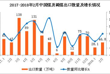 2018年1-2月中国煤及褐煤出口数据分析:出口额同比减少39.2%(附图表)