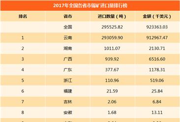 2017年全國各省市錫礦進口量排行榜