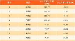 2018年1-2月全國各省市氧化鋁產量排行榜(附榜單)