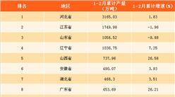 2018年1-2月全国各省市粗钢产量排名:河北粗钢产量第一(附榜单)