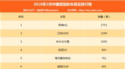 2018年2月中国微型轿车销量排名:奇瑞eQ第一 电动车成主流(附排名)