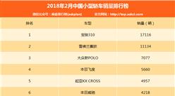 2018年2月中国小型轿车销量排行榜