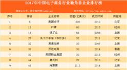 2017年中国电子商务行业独角兽企业排名:美团点评第一(图)