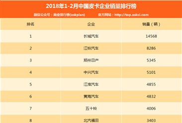2018年1-2月中国皮卡企业销量排行榜(TOP10)