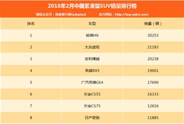 2018年2月中国紧凑型SUV销量排行榜