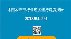 2018年1-2月中國農產品行業經濟運行月度報告(附全文)
