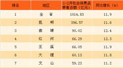2018年1-2月云南省各地区社会消费品零售总额排行榜:昆明消费力最强(附榜单)
