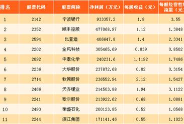 2017年深交所中小企业板净利润排行榜(图)