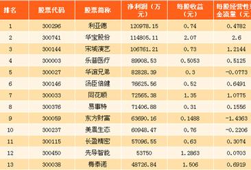 2017年深交所创业板上市公司净利润排行榜(图)