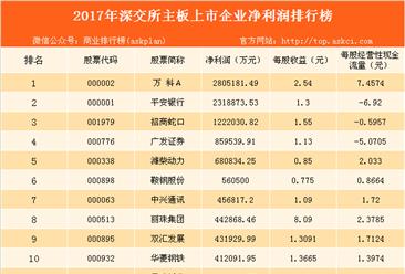 2017年深交所主板上市企业净利润排行榜(图)