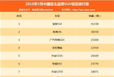 2018年3月中国自主品牌SUV销量排名:宝骏510再超哈弗H6?