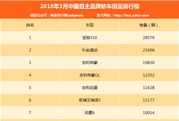 2018年3中国自主品牌轿车销量排行榜:宝骏310第一(附排名)
