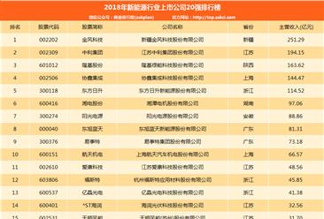 2018年新能源行业上市公司20强排行榜