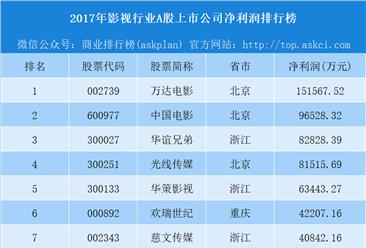2018年影视行业A股上市公司净利润排行榜