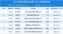 2017年集成电路行业A股上市公司收入排行榜:3企业收入超100亿