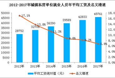 2017年城镇私营单位就业人员工资分析:年平均工资45761元 增长6.8%