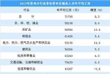 2017年贵州城镇非私营单位年平均工资71795元 这3大行业工资最低(图)