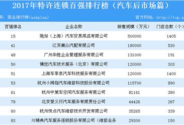 2017年特许连锁百强排行榜(汽车后市场篇)