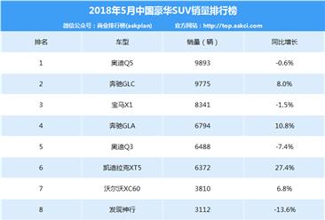2018年5月豪华SUV销量排名:奥迪Q5第一 销量微跌0.6%(附排名)