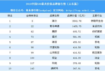 2018中国500最具价值品牌排行榜(山东篇):海尔等40个品牌上榜(附榜单)