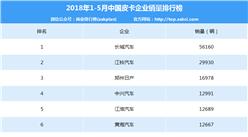2018年1-5月皮卡企业销量排行榜:长城/江铃/郑州日产前三(附排名TOP10)