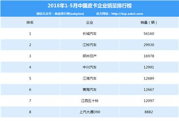 2015年1-5月中国皮卡企业销量排行榜