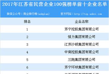 2017年江苏省民营企业100强榜单出炉:百强企业全年实现总营收达41945亿(附名单)