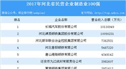 2017年河北民营企业制造业100强排行榜