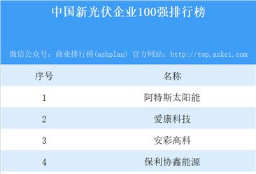 2018中国新光伏企业100强排行榜