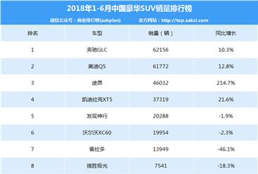 2018年1-6月豪华SUV销量排行榜