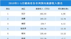 2018年1-5月湖南各市州国内旅游收入:长沙收入最高  邵阳增速最快