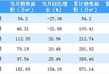 2018年6月华润置地销售简报:累计销售额逼近千亿(附图表)