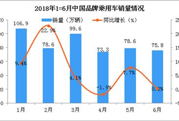 2018年6月中国品牌乘用车销量分析:连续四个月产大于销