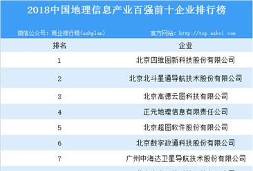 2018中国地理信息产业百强企业排行榜