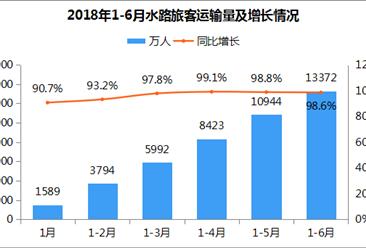 2018年1-6月全国水路客运量达1.34亿人 同比增长98.6%