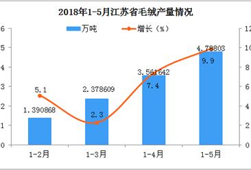 2018年1-5月江苏省毛绒产量分析:预计后期市场将越来越好
