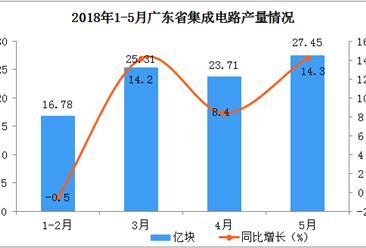 2018年1-5月广东省集成电路产量分析:累计同比增长14.6%