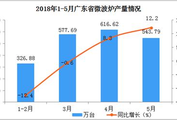2018年1-5月广东省微波炉产量分析:5月份同比增长12.2%